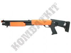 M56C BB Gun Franchi Style Spring Tri Shot Pump Action Airsoft Shotgun 2 Tone Orange Black
